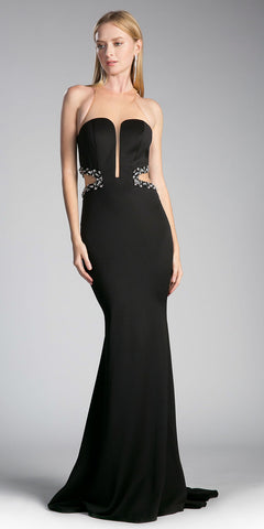 Illusion Black Long Prom Dress with Cut Outs