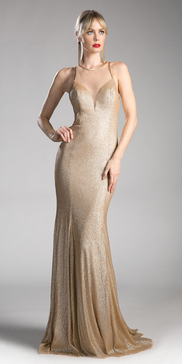 0220d8907aa Gold Long Prom Dress with Illusion Neckline and Cut-Out Back