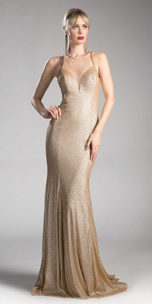 Gold Long Prom Dress with Illusion Neckline and Cut-Out Back