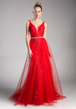 Red V-Back Prom Gown with Tulle Overlay