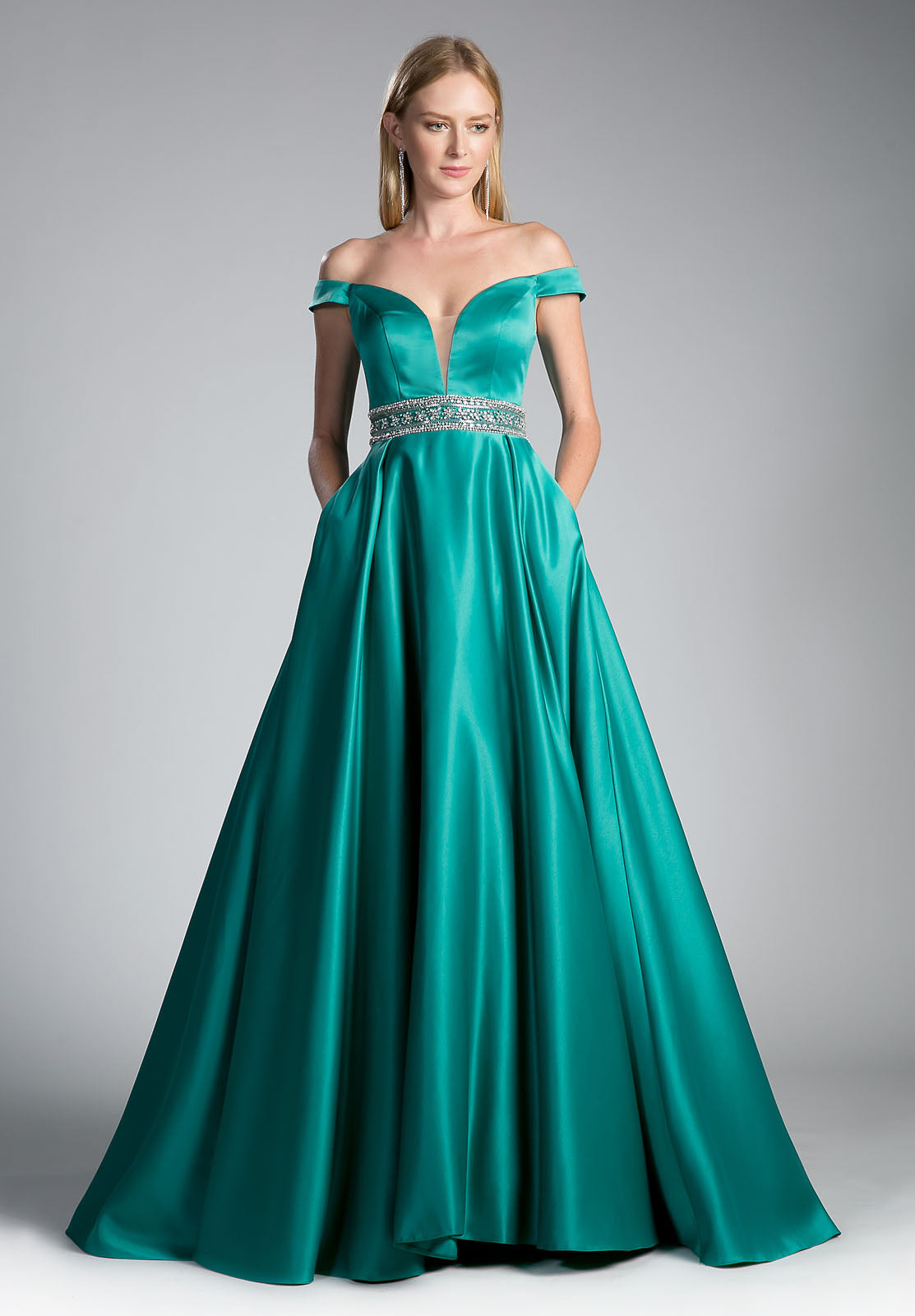 Cinderella Divine 13288 Jade Off-the-Shoulder Ball Gown Beaded Waist ...