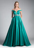 Jade Off-the-Shoulder Ball Gown Beaded Waist with Pockets