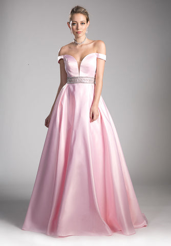 Powder Pink Off-the-Shoulder Ball Gown Beaded Waist with Pockets