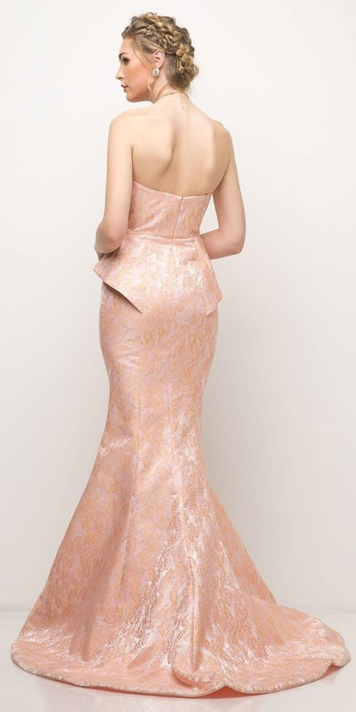 Strapless Long Mermaid Prom Dress Peach