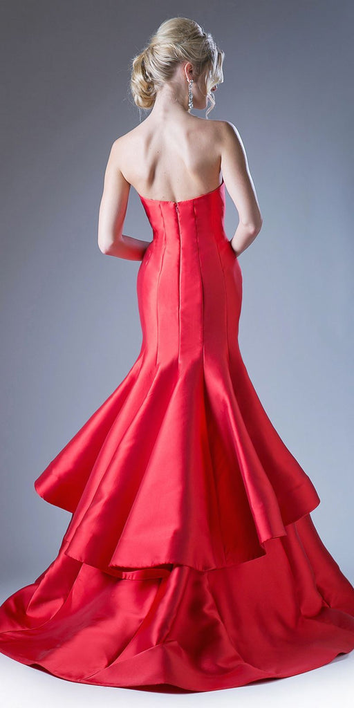 Cinderella Divine 13355 Floor Length Strapless Trumpet Dress Red Layered Skirt