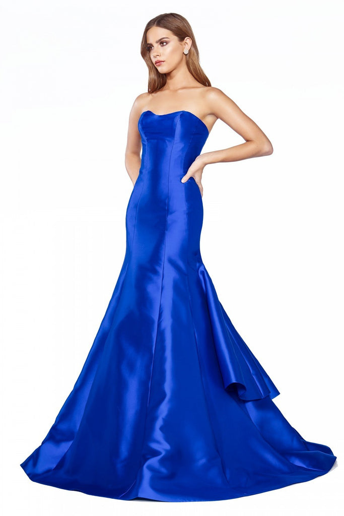 Cinderella Divine 13355 Floor Length Strapless Trumpet Dress Royal Blue Layered Skirt