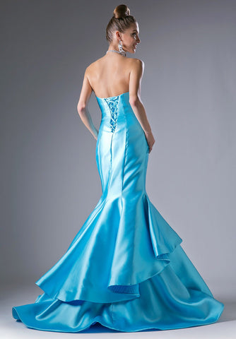 Turquoise Sweetheart Neckline Layered Mermaid Prom Gown Lace Up Back