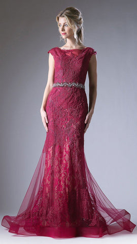 Cherry Appliqued Mermaid Evening Gown Cap Sleeves