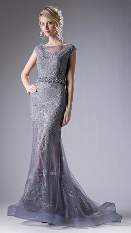 Gray Appliqued Mermaid Evening Gown Cap Sleeves
