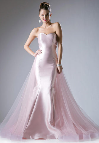 Cinderella Divine 13490 Sweetheart Neckline Strapless Mermaid Prom Gown with Tulle Train Blush