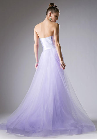 Cinderella Divine 13490 Sweetheart Neckline Strapless Mermaid Prom Gown with Tulle Train Lilac
