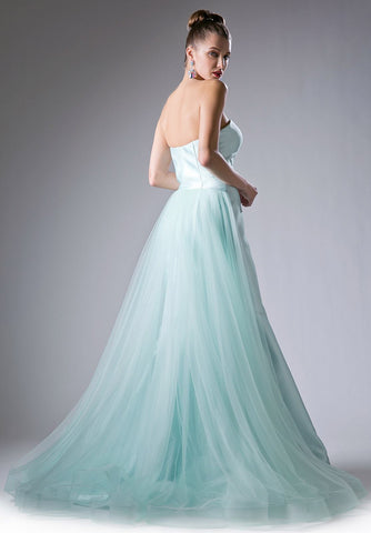 Cinderella Divine 13490 Sweetheart Neckline Strapless Mermaid Prom Gown with Tulle Train Mint