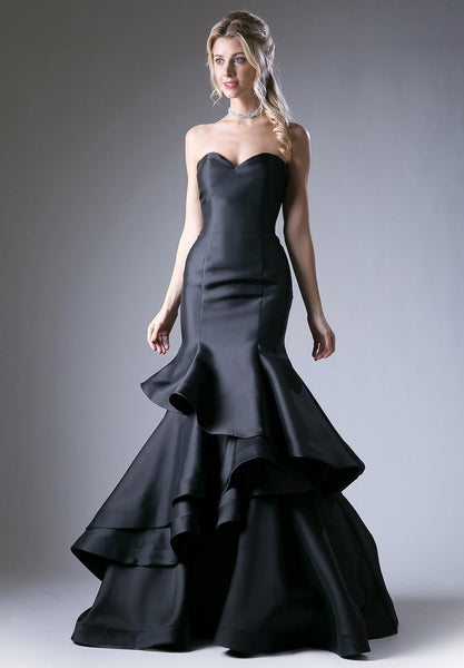 Black Strapless Layered Mermaid Long Prom Dress Corset Back