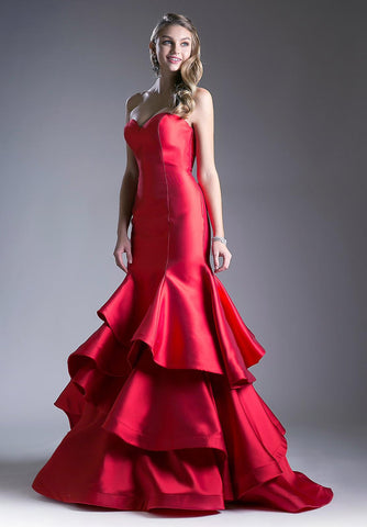 Red Strapless Layered Mermaid Long Prom Dress Corset Back