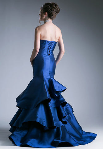 Navy Strapless Layered Mermaid Long Prom Dress Corset Back