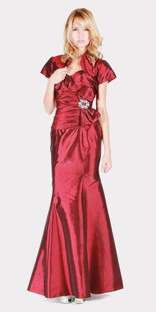 Strapless Long Formal Dress Burgundy with Bolero