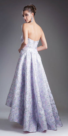 Cinderella Divine 13554 Lilac High and Low Strapless Prom Gown Back View