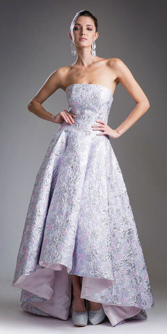 Cinderella Divine 13554 Lilac High and Low Strapless Prom Gown