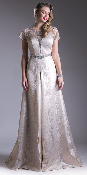 Embellished Short Sleeves Illusion Floor Length Prom Dress Champagne
