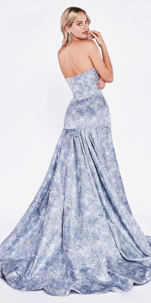 Blue Strapless Mermaid Style Long Prom Dress