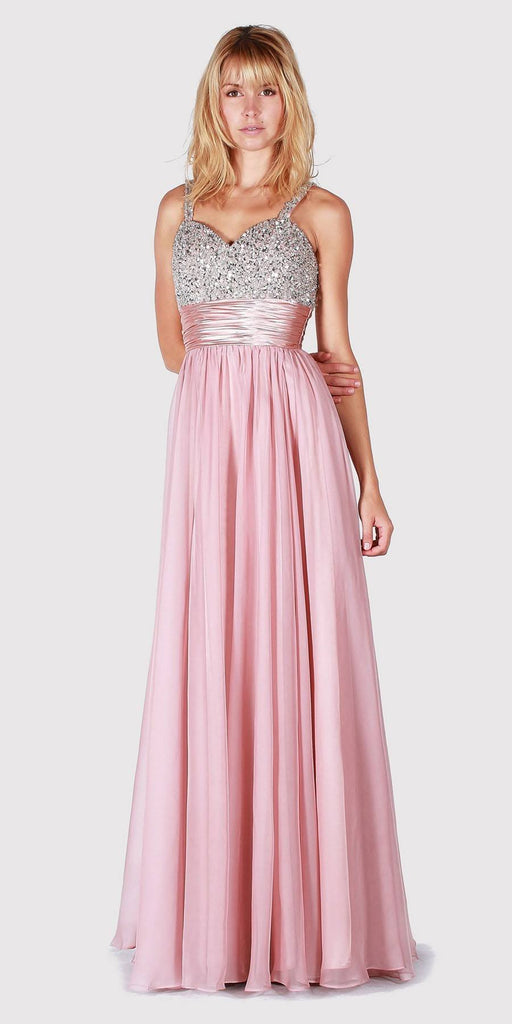 Jewel Embellished Bodice Long Prom Dress Dusty Rose