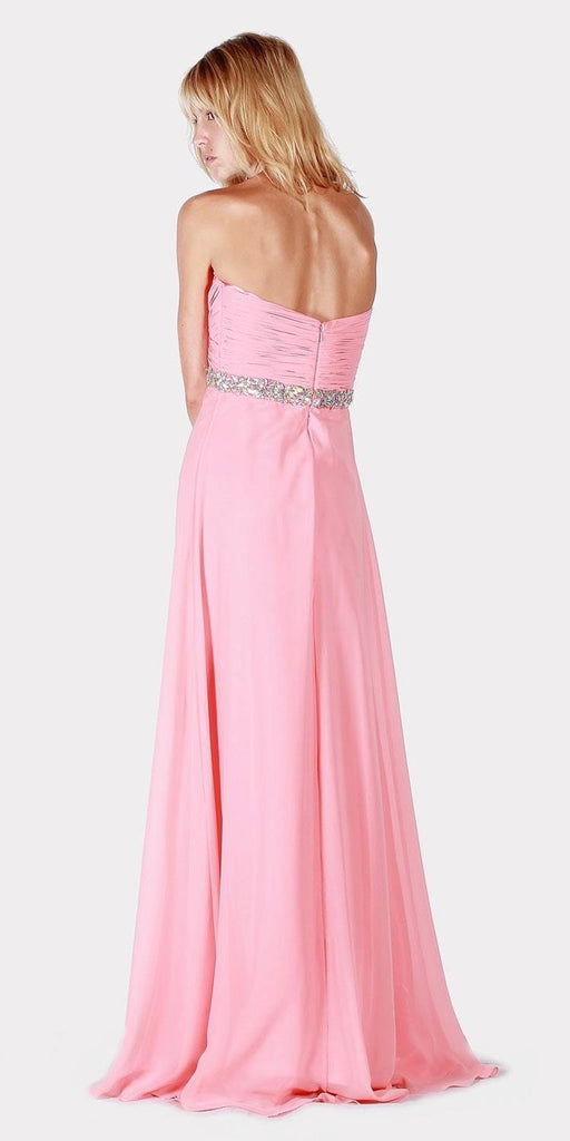 Empire Waist Strapless Long Formal Dress Dusty Rose