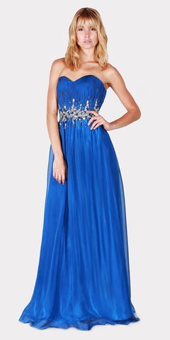 Royal Blue Beaded Waist Long Prom Dress Strapless