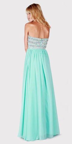 Beaded Strapless Long Formal Dress Aqua
