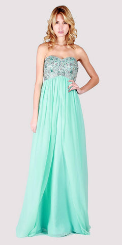 Aqua Sweetheart Neckline Long Formal Dress Strapless