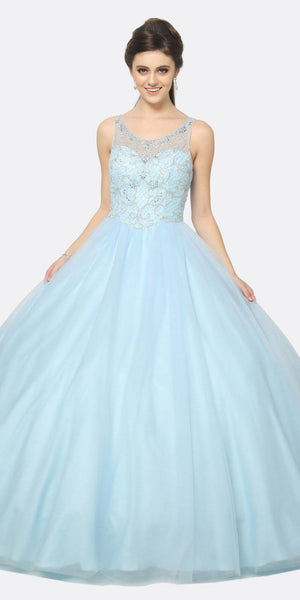 Juliet 1417 Quinceanera Dress Poofy Ballgown Bahama Blue Beaded Bodice