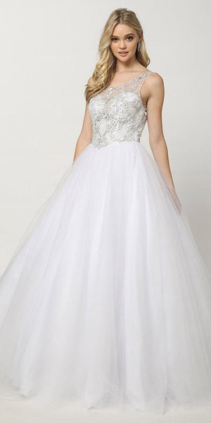 Quinceanera Dress Poofy Ballgown White Beaded Bodice