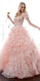 Cinderella Blush Ball Gown Organza Ruffle Skirt Beaded Corset Bodice