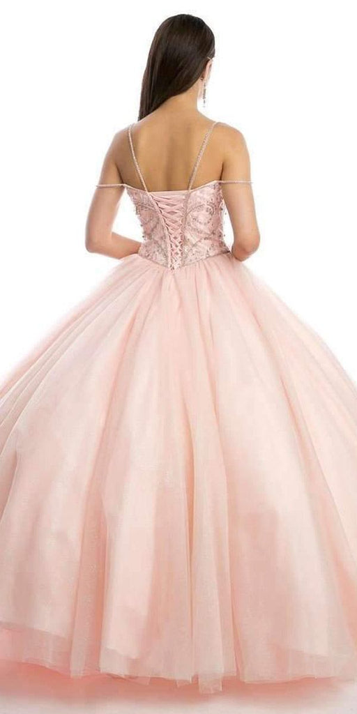 Juliet 1419 Magical Cinderella Blush Ball Gown Poofy Beaded Straps Glitter Mesh