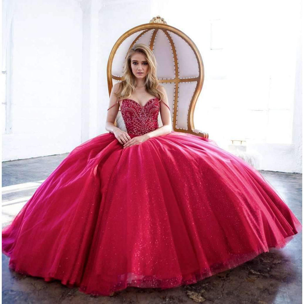 Juliet 1419 Magical Cinderella Burgundy Ball Gown Poofy Beaded Straps Glitter Mesh