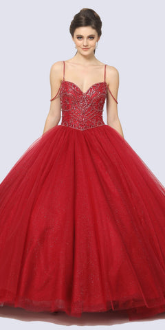 Red/Purple Glitter Long Prom Dress with Strappy Back