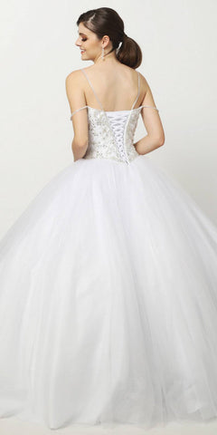 Juliet 1419 White Poofy Quinceanera Beaded Straps Glitter Mesh Ballgown