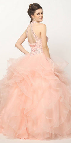 Crystal Beading Layered Tulle Skirt Quinceanera Dress Blush