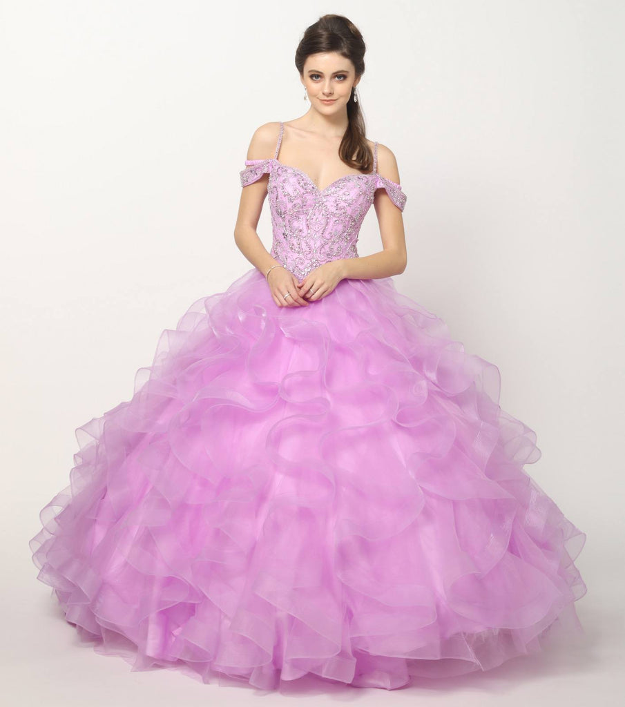 Lilac Cinderella Ball Gown Ruffled Tulle Cold Shoulder Embroidered Bodice