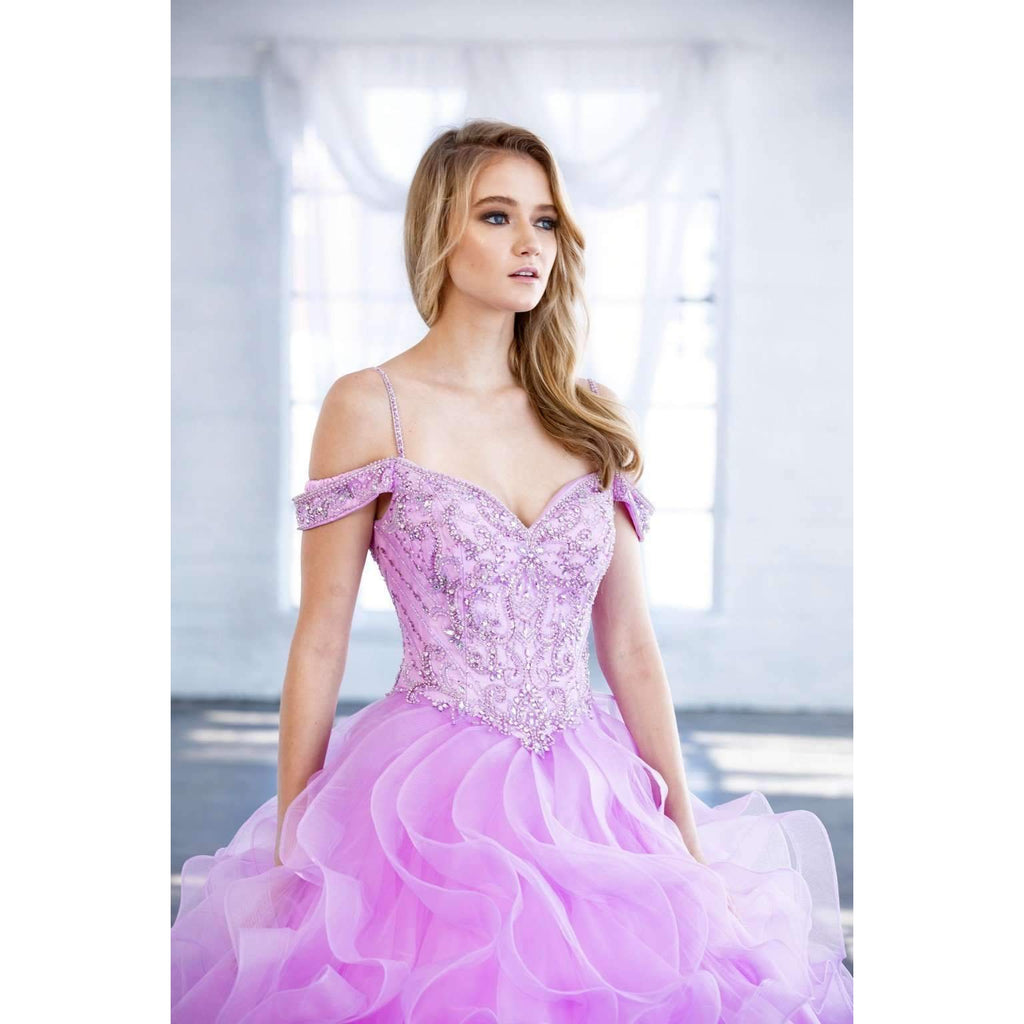 Juliet 1421 Lilac Cinderella Ball Gown Ruffled Tulle Cold Shoulder Embroidered Bodice