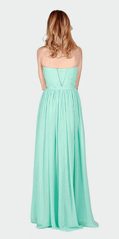 Aqua Ruched Bodice Strapless Long Formal Dress