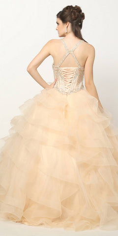 Quinceanera Ball Gown Ruffled Tiered Tulle Champagne Dress
