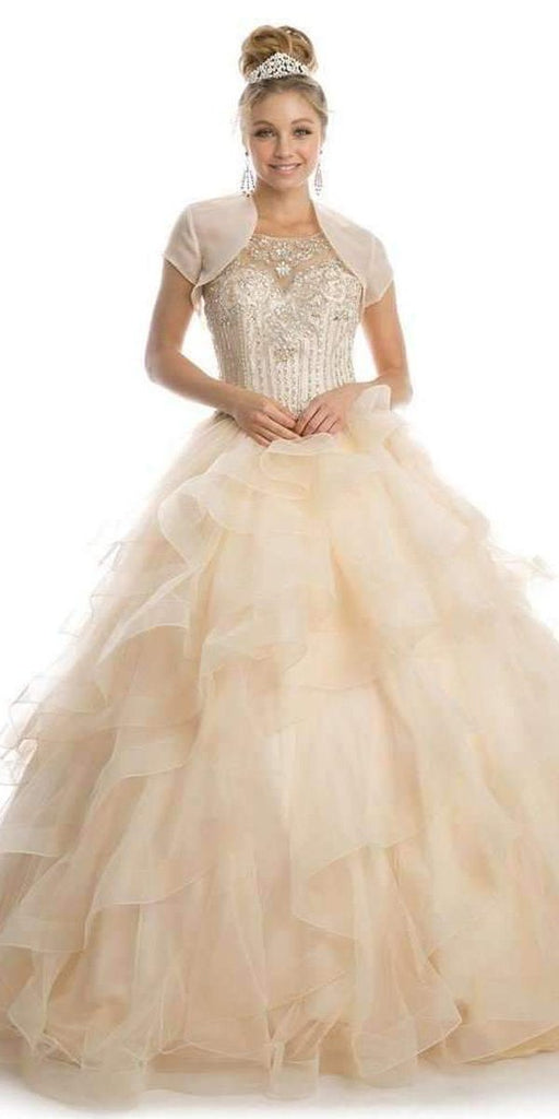 Juliet 1423 Champagne Princess Ball Gown Ruffled Tiered Tulle With Jacket