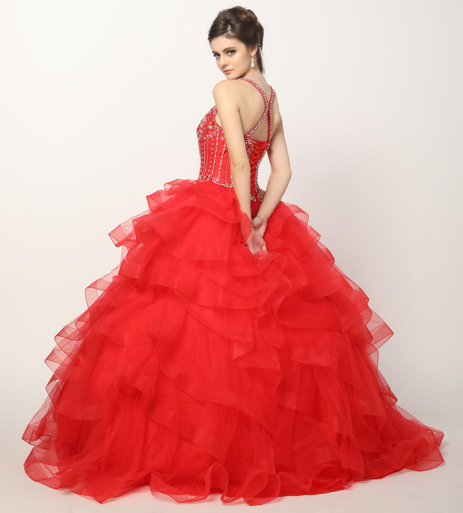Champagne Princess Ball Gown Ruffled Tiered Tulle With Jacket