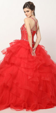 Quinceanera Ball Gown Ruffled Tiered Tulle Red Dress