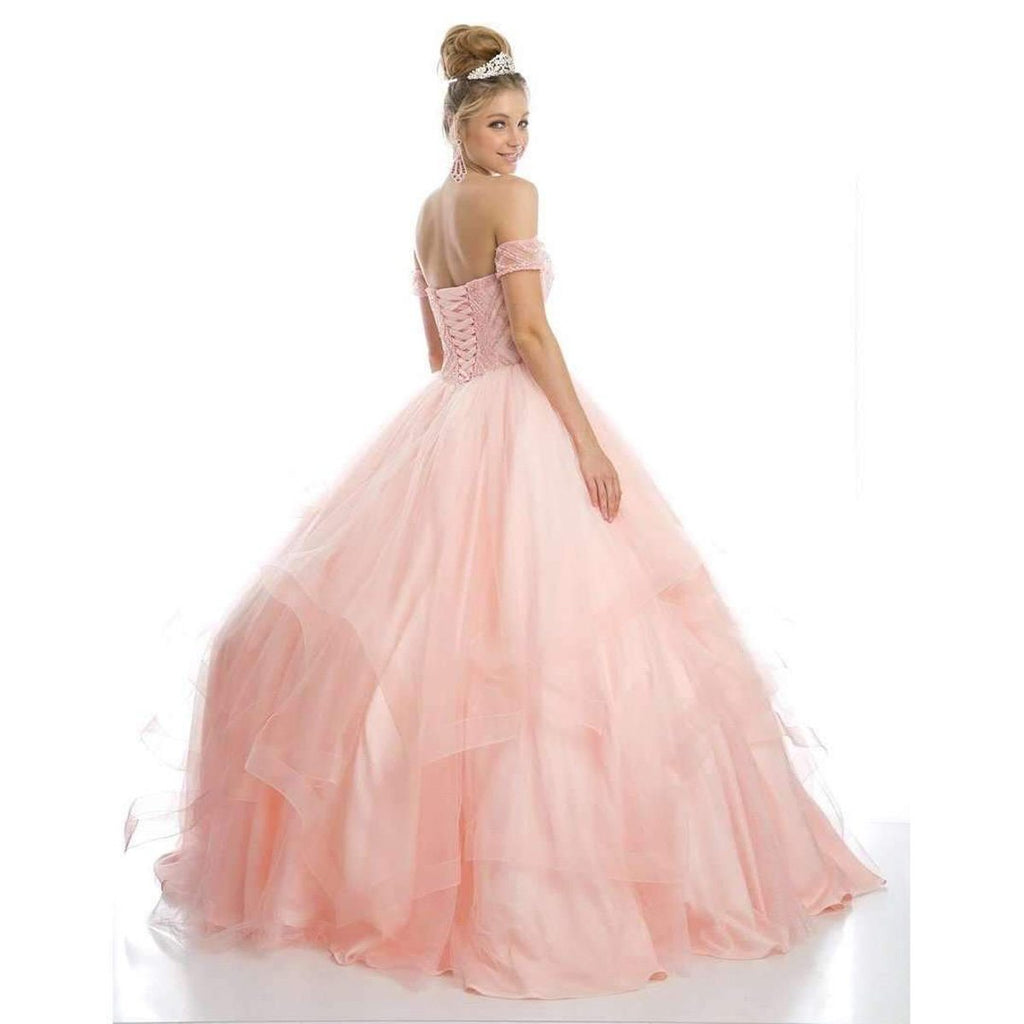 Juliet 1424 Blush Quinceanera Ball Gown Tulle Skirt With Arm Bands Beaded Bodice