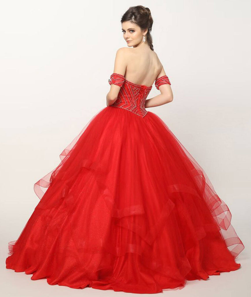 Beaded Embroidery Glitter Mesh Cinderella Ball Gown Blush