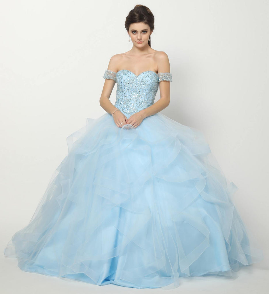 Beaded Bodice Quinceanera Tulle Ball Gown Bahama Blue Detachable Sleeves
