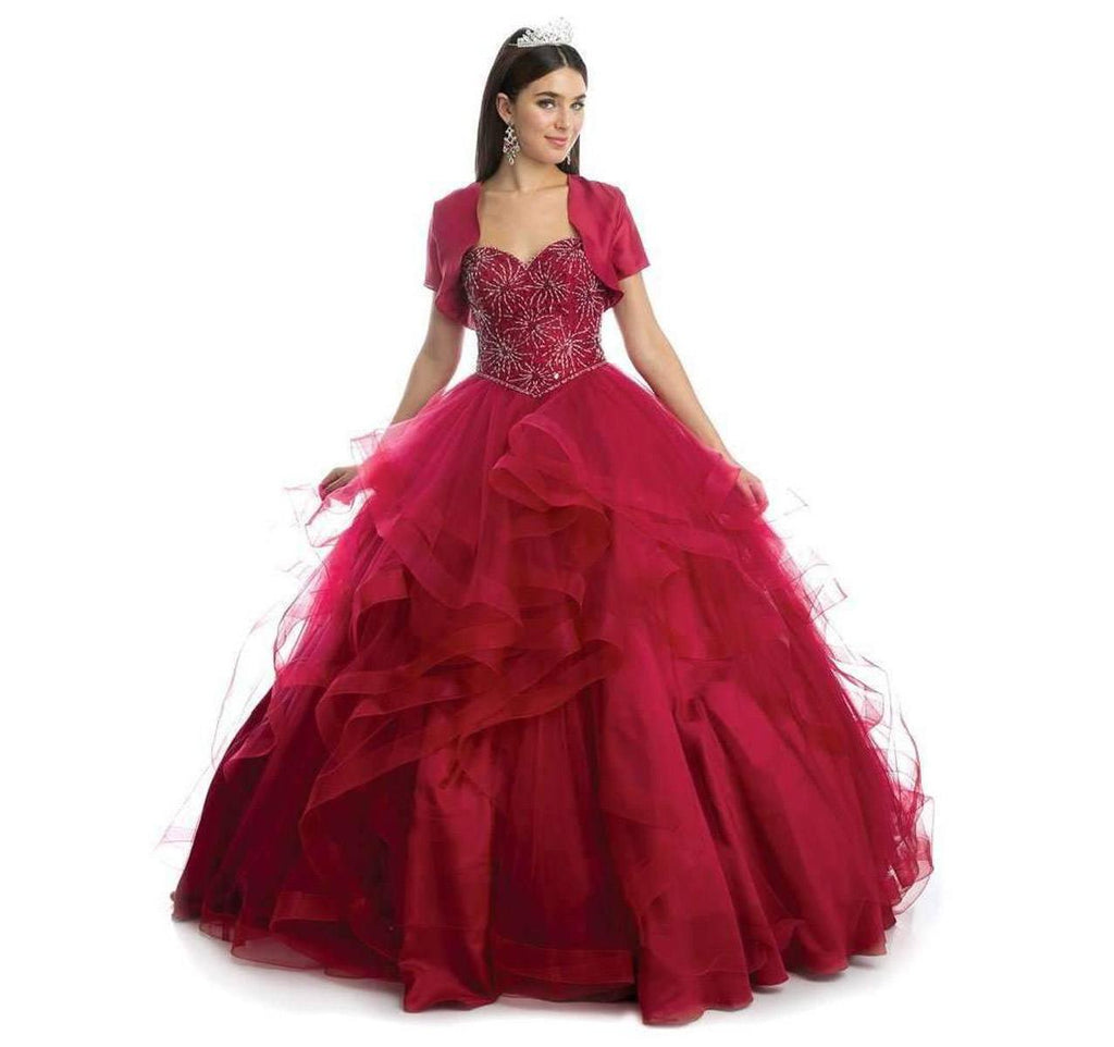 Juliet 1425 Beaded Bodice Quinceanera Tulle Ball Gown Burgundy Detachable Sleeves