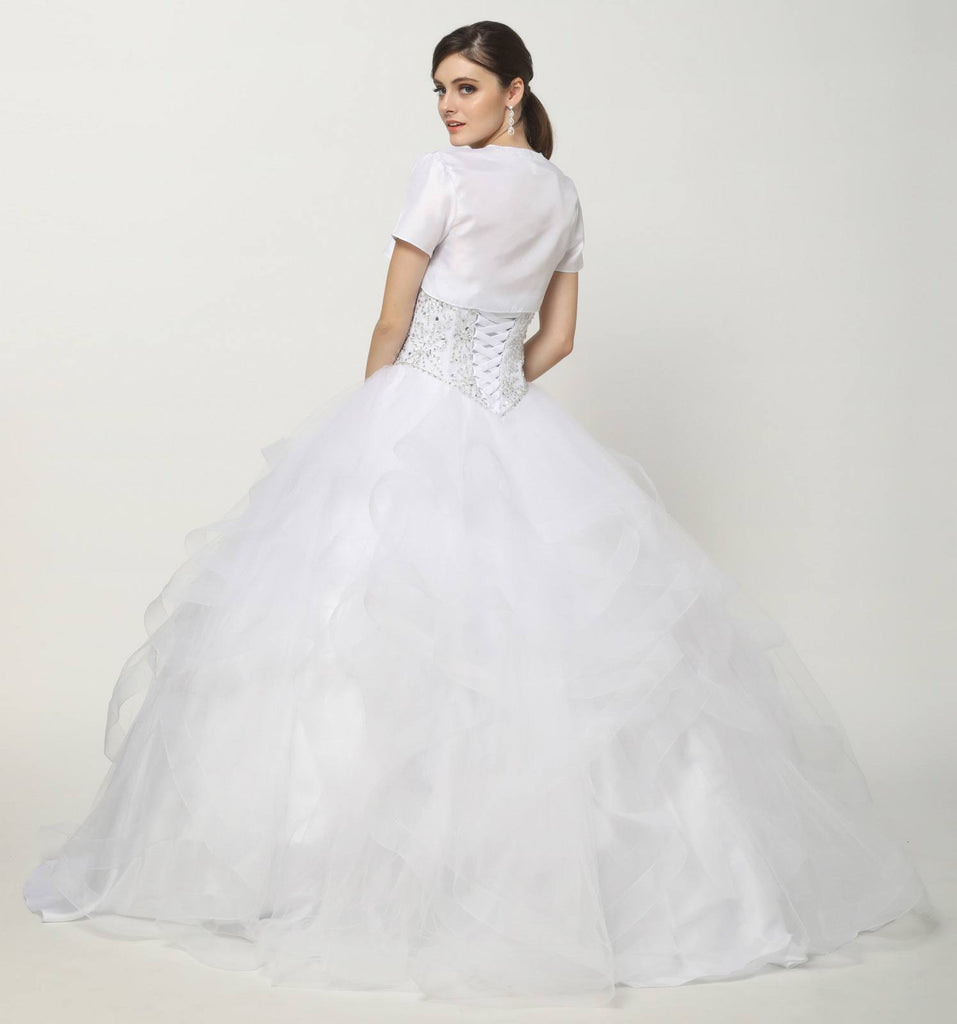 Beaded Bodice Quinceanera Tulle Ball Gown White Detachable Sleeves