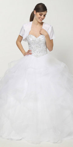 Beaded Bodice V-Neckline Sleeveless Quinceanera Dress White